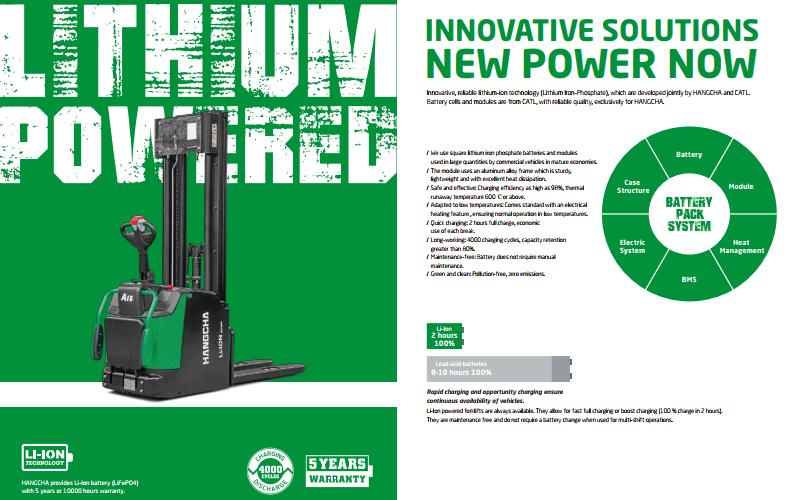 HANGCHA phát triển dòng pin Lithium cho xe nâng tay điện cao