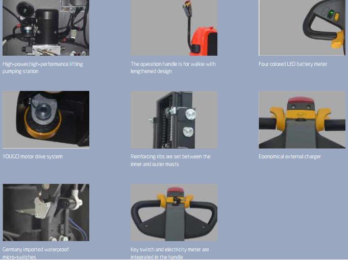 Các bộ phận chính trên xe nâng điện đứng lái
